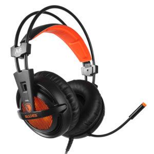 Ακουστικά GAMING SADES A6, multiplatform, USB, LED, μαύρα/πορτοκαλί