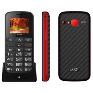"""ΚΙΝΗΤΟ ΜΕ ΠΛΗΚΤΡΑ NSP 2000DS 1.8"""" DUAL SIM 2G 32MB/32MB RADIO-MP3/MP4 SOS BUTTON BLACK/RED + HANDS FREE GR"""